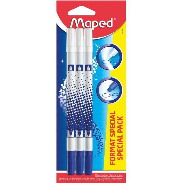 Lot de 6 stylos effaceurs pour encre bleue Maped