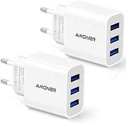 2 Chargeurs Secteur USB 3 Ports Universel Chargeur Mural (5V 3A /15W) (Vendeur tiers)