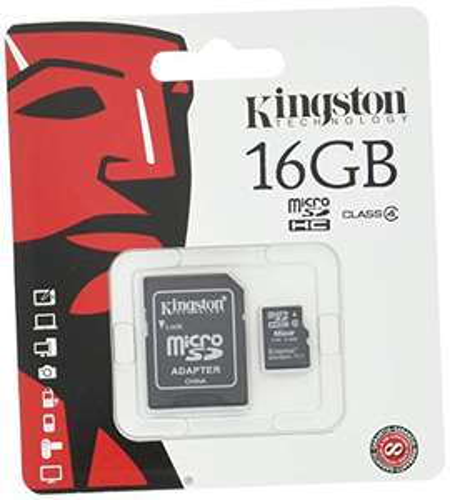Carte microSDHC Kingston SDC4 (Classe 4) - 16 Go + Adaptateur