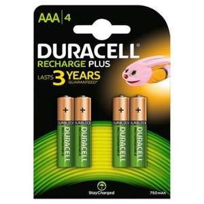 4 piles rechargeables Duracell Recharge Plus AA-LR6 1300mAh