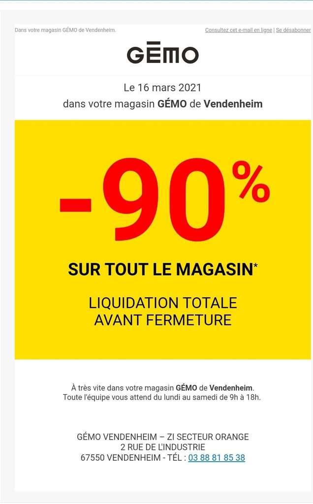 90% de réduction sur tout le magasin (liquidation avant fermeture) - Vendenheim (67)