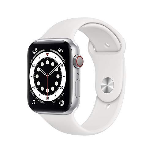Montre connectée Apple Watch Series 6 (GPS + Cellular) - 44 mm, Boîtier Aluminium argenté, Bracelet sport blanc