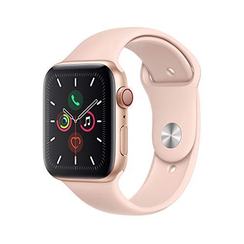 Montre connectée Apple Watch Series 5 (GPS + Cellular, 44 mm) Boîtier en Aluminium Or - Bracelet Sport Rose des Sables
