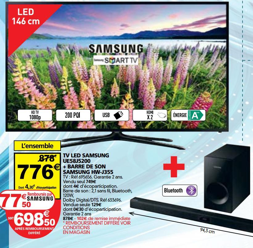 """TV 58"""" Samsung UE58J5200 + Barre de son Samsung HWJ355 120W (avec ODR 77.50€)"""