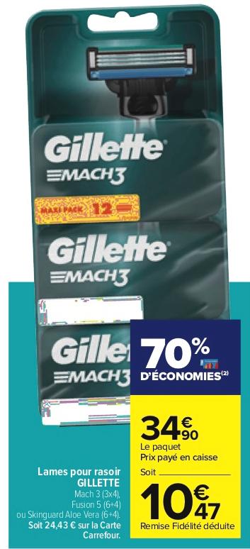 Paquet de 3x 4 Lames de rasoir Gilette Match 3 (Via 24,43€ sur Carte Fidélité)