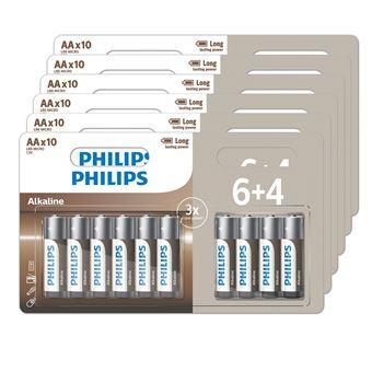 Lot de 60 piles alcalines Philips - AA ou AAA