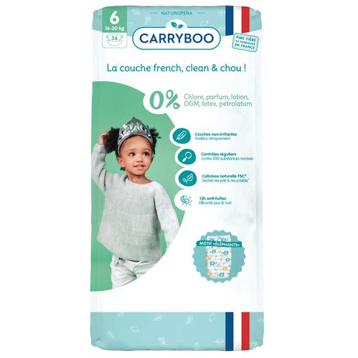 Sélection de couches Carryboo en promotion - Ex: Couches écologiques dermo-sensitives Carryboo - Taille 6 (16 à 30kg), 36 couches