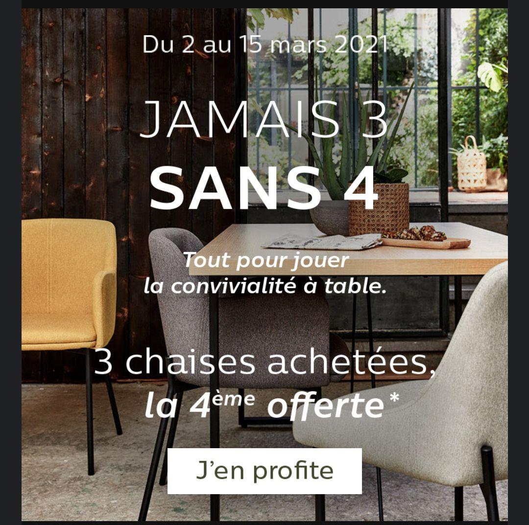 3 chaises achetées = la 4ème offerte (parmi une sélection)