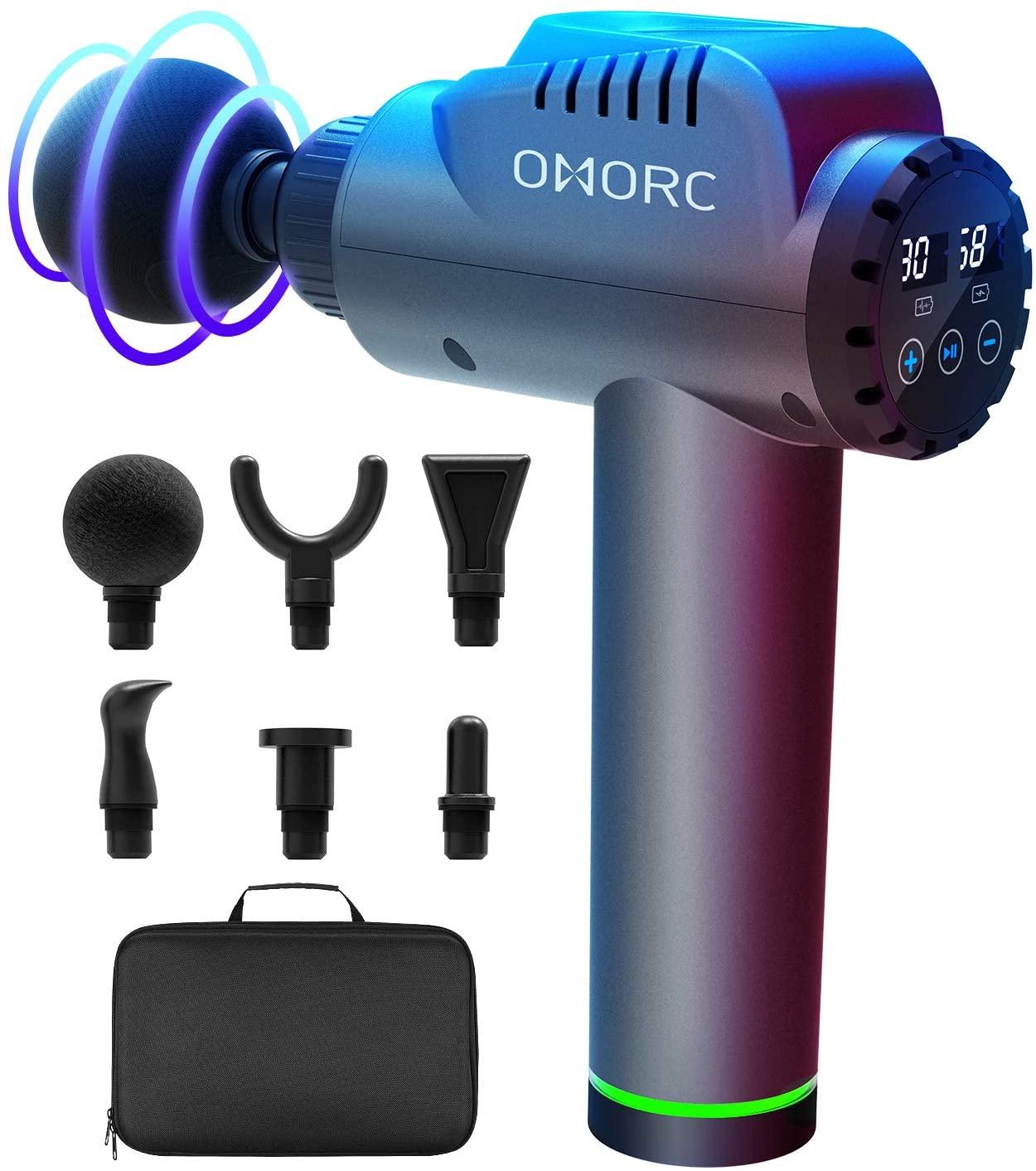 Pistolet de Massage musculaire Omorc - 30 Niveaux réglables, 6 Têtes, Ecran LCD, Silencieux (Vendeur tiers)