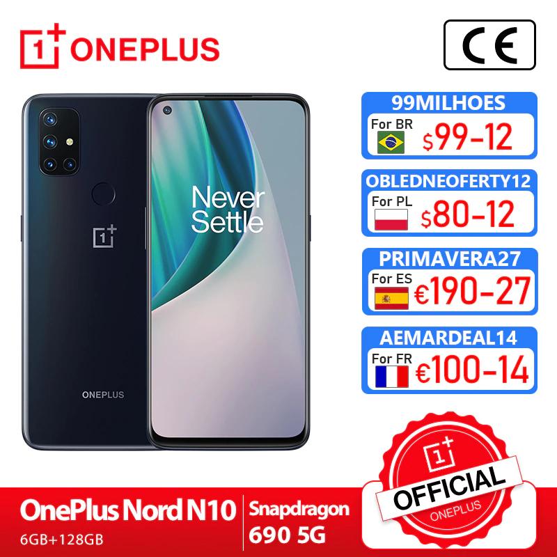 "Smartphone 6.49"" Oneplus Nord N10 5G - full HD+ 90 Hz, SnapDragon 690, 6 Go de RAM, 128 Go, noir (205.96€ via AEMARDEAL14)"