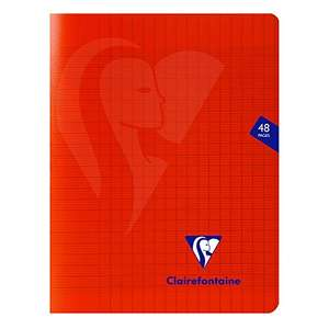 Cahier grands carreaux Clairefontaine Mimesys (333751C) - 48 pages, 17x22 cm, rouge