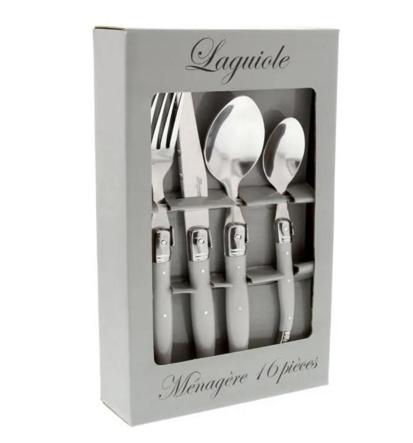 Ménagère Laguiole - 16 pièces manches gris uni