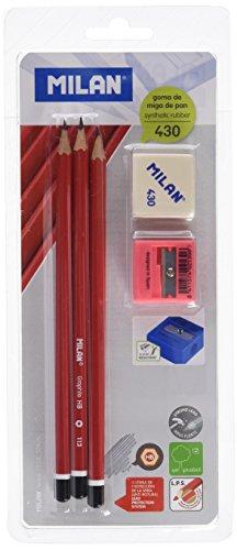 Lot de 3 crayons graphique HB + 1 gomme + un taille crayon - Milan