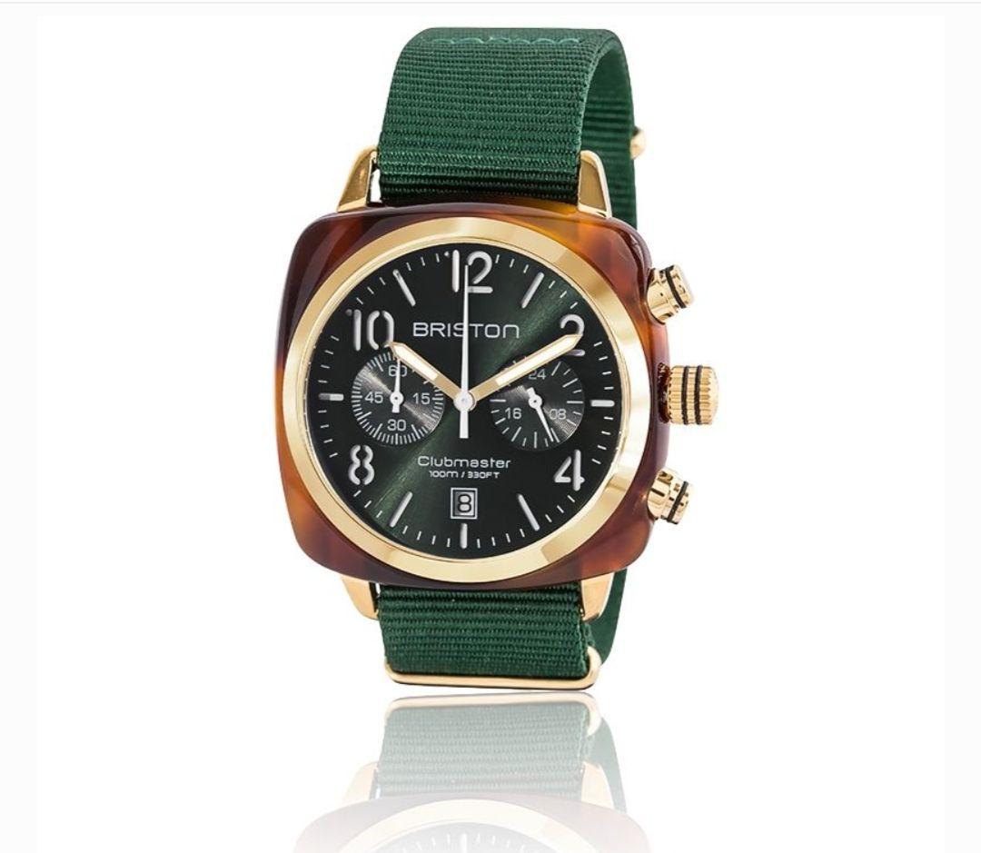Montre Briston Clubmaster Chrono Gold Acétate Ecaille de tortue cadran vert