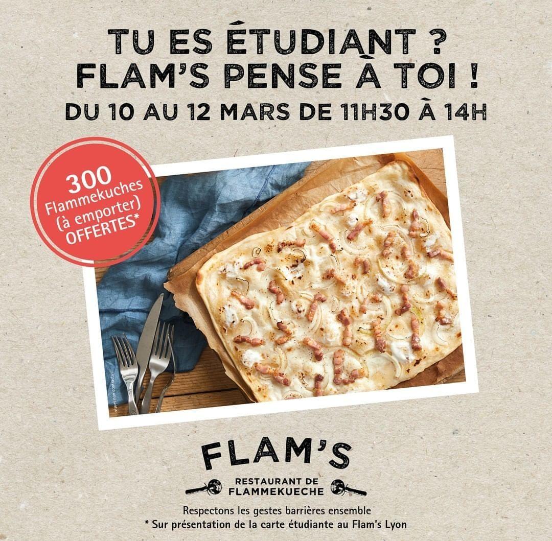 [Étudiants] Distribution gratuite de Flammekueches - Flam's Lyon (69) / Strasbourg (67) / Montparnasse (75)