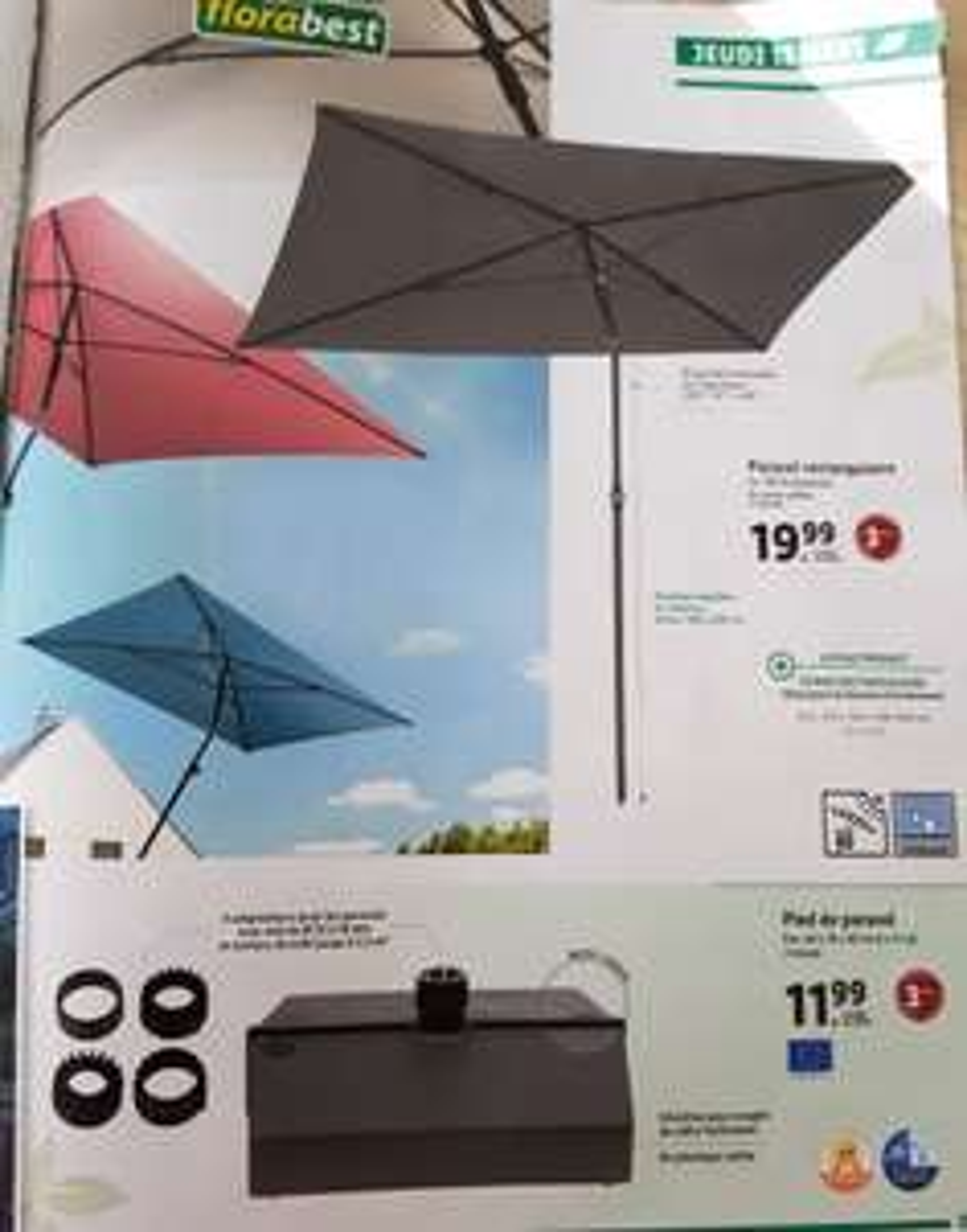 Parasol rectangulaire Florabest - 210 × 140 cm