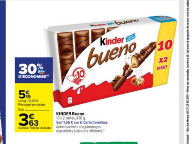 Paquet de 10 Kinder Bueno 10 x 2 barres (via 1,56€ sur la carte de fidélité)