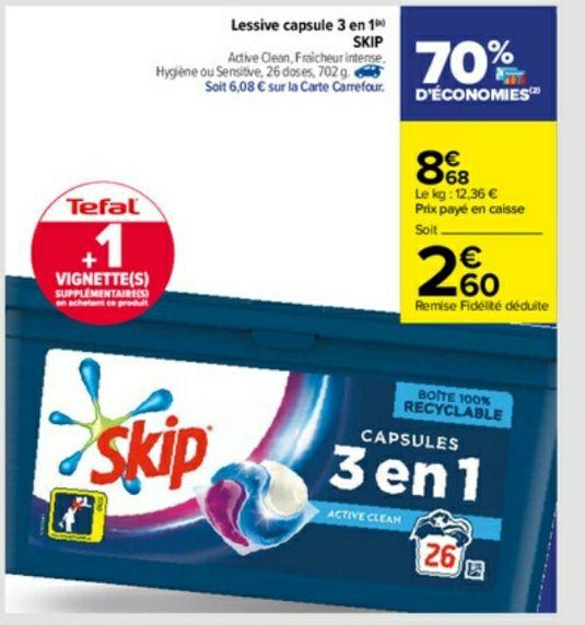 Lessive en capsule Skip 3 en 1 - 26 doses (via 6.08€ sur Carte fidélité)