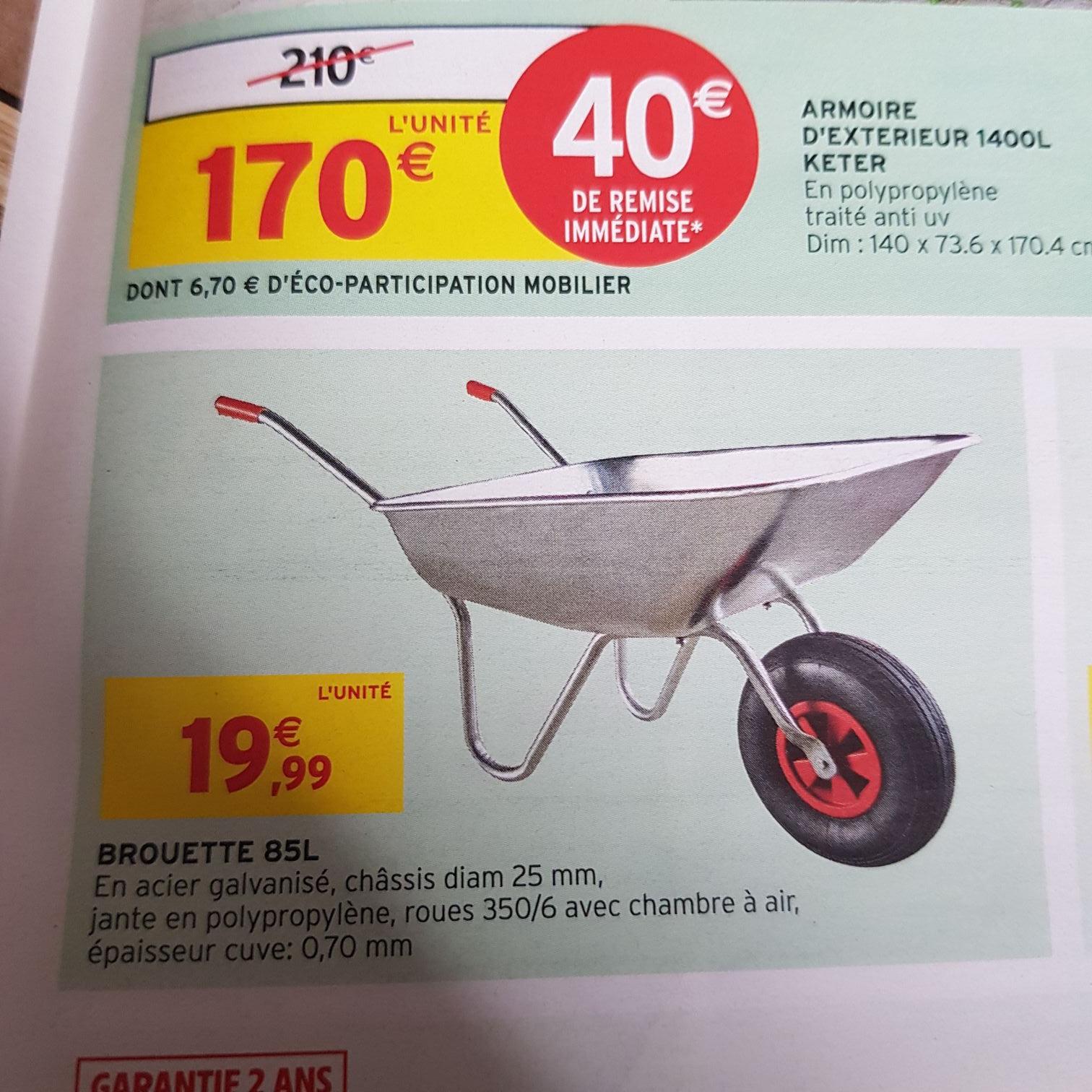 Brouette en acier galvanisé - 85L (Basse-Ham 57 / Neuves-Maisons 54)