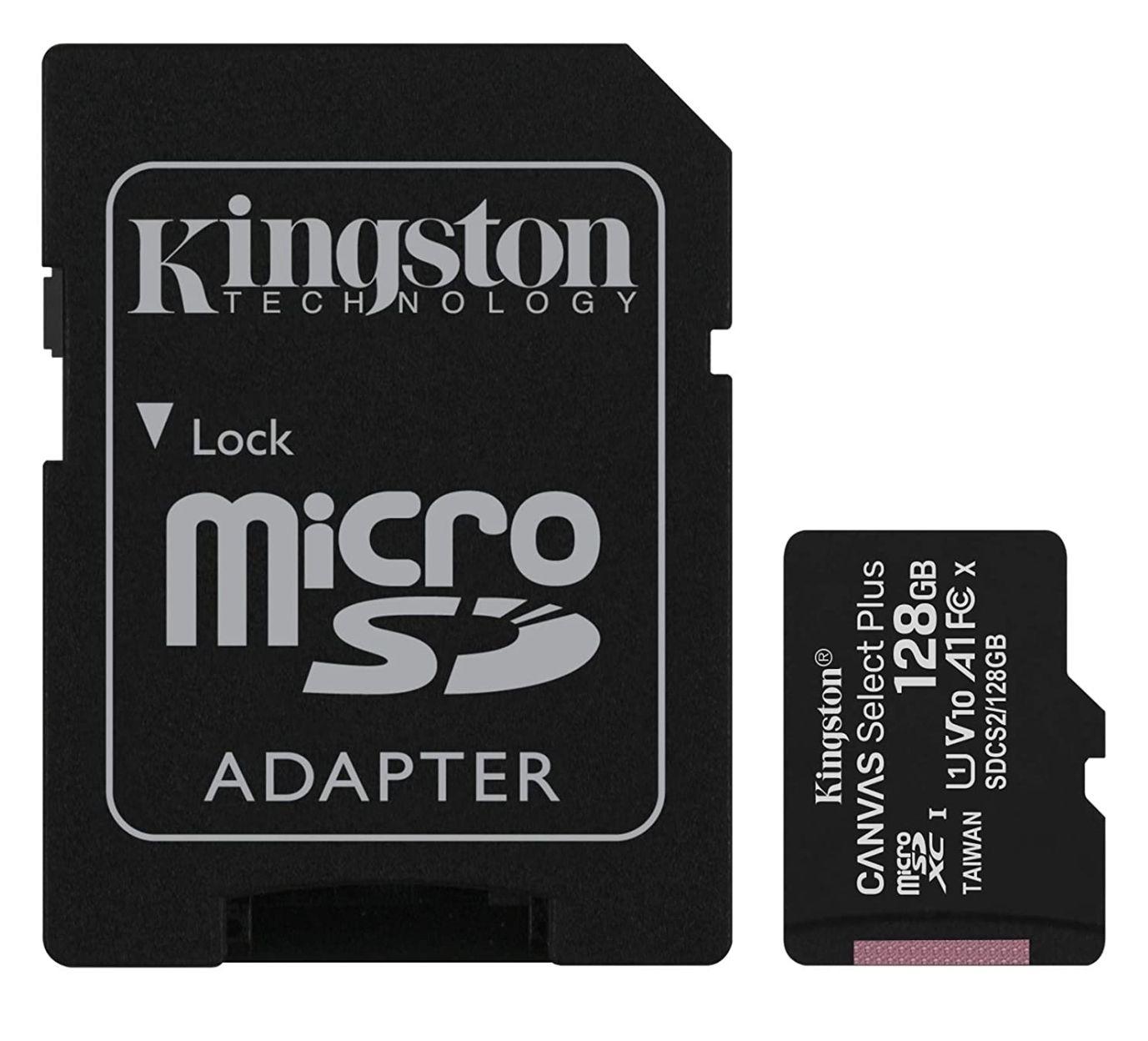 Carte mémoire microSDXC Kingston Canvas Select Plus - 128 Go + Adaptateur (Vendeur tiers)