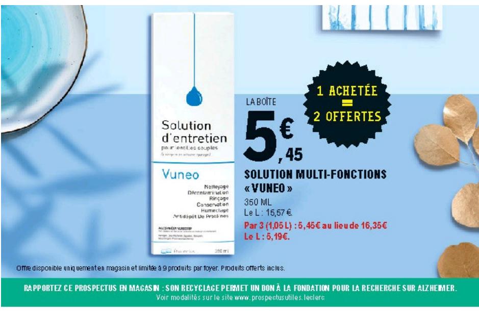 Lot de 3 Solution multifonctions pour lentilles Vuneo 350ml
