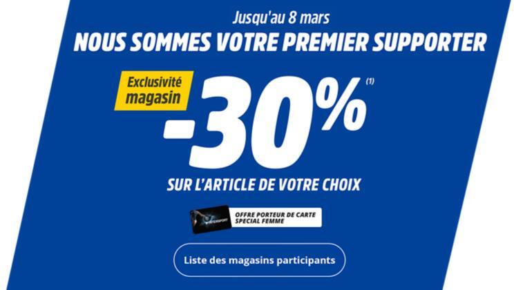 [Carte Intersport & Femme] 30% de réduction sur un article au choix en magasin (hors offres en cours)
