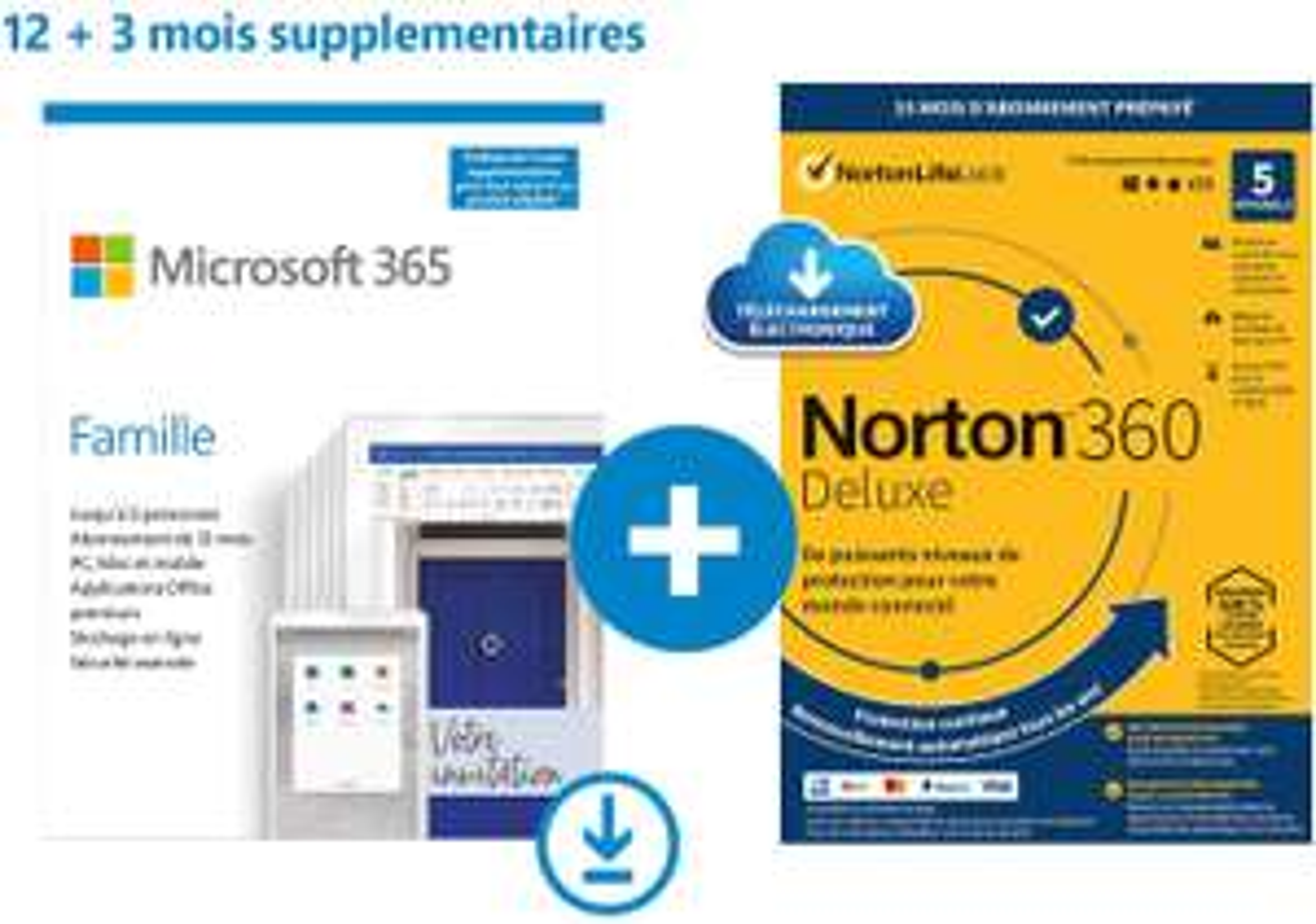 Microsoft 365 Famille + Notion 360 Deluxe ou MacAffee 2021 Total Protection 12 Mois + 3 Mois offerts (Dématérialisé)