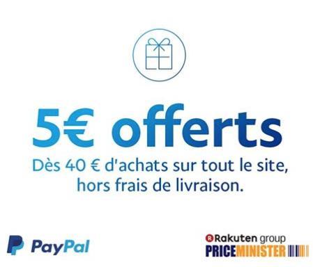 5€ de remise dès 40€ d'achats en payant avec Paypal