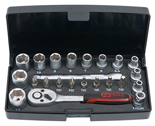 """Coffret de clé à douilles + douilles KS Tools F6 1/4"""" 911.0623 - 23 pièces"""