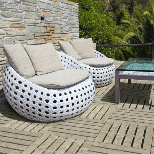 Dalle rainurée en bois pour terrasse ou balcon - 40x40 cm
