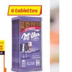 Lot de 6 tablettes de chocolat Milka lait du pays alpin ou Tendre lait ou Riz croustillant (6x100g)
