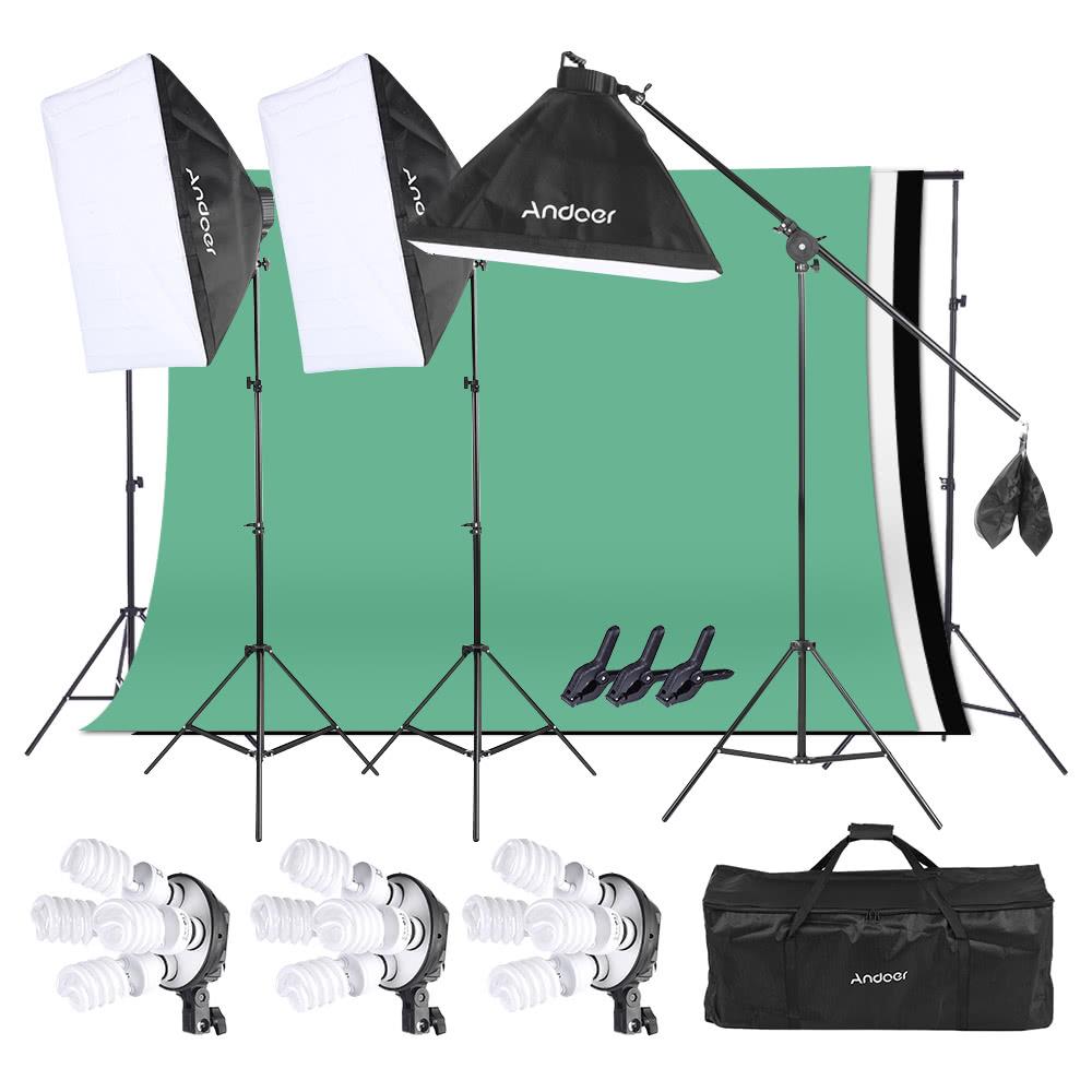 Ensemble d'éclairage Studio Photo Andoer : 3 Softbox + 12 Ampoules 45W + 3 Toiles de fond avec Support + Accessoires (Entrepôt Allemagne)