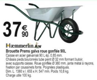 Brouette Haemmerlin Prems Galva (roue gonflée, 90 L, charge utile 100 kg) - Tridôme