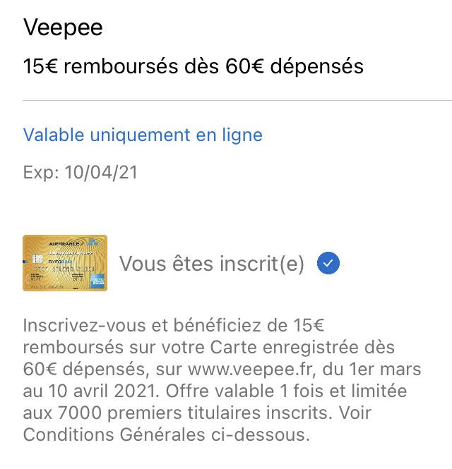 [Carte AMEX Air France] 15€ remboursés dès 60 euros d'achat sur le site Veepee