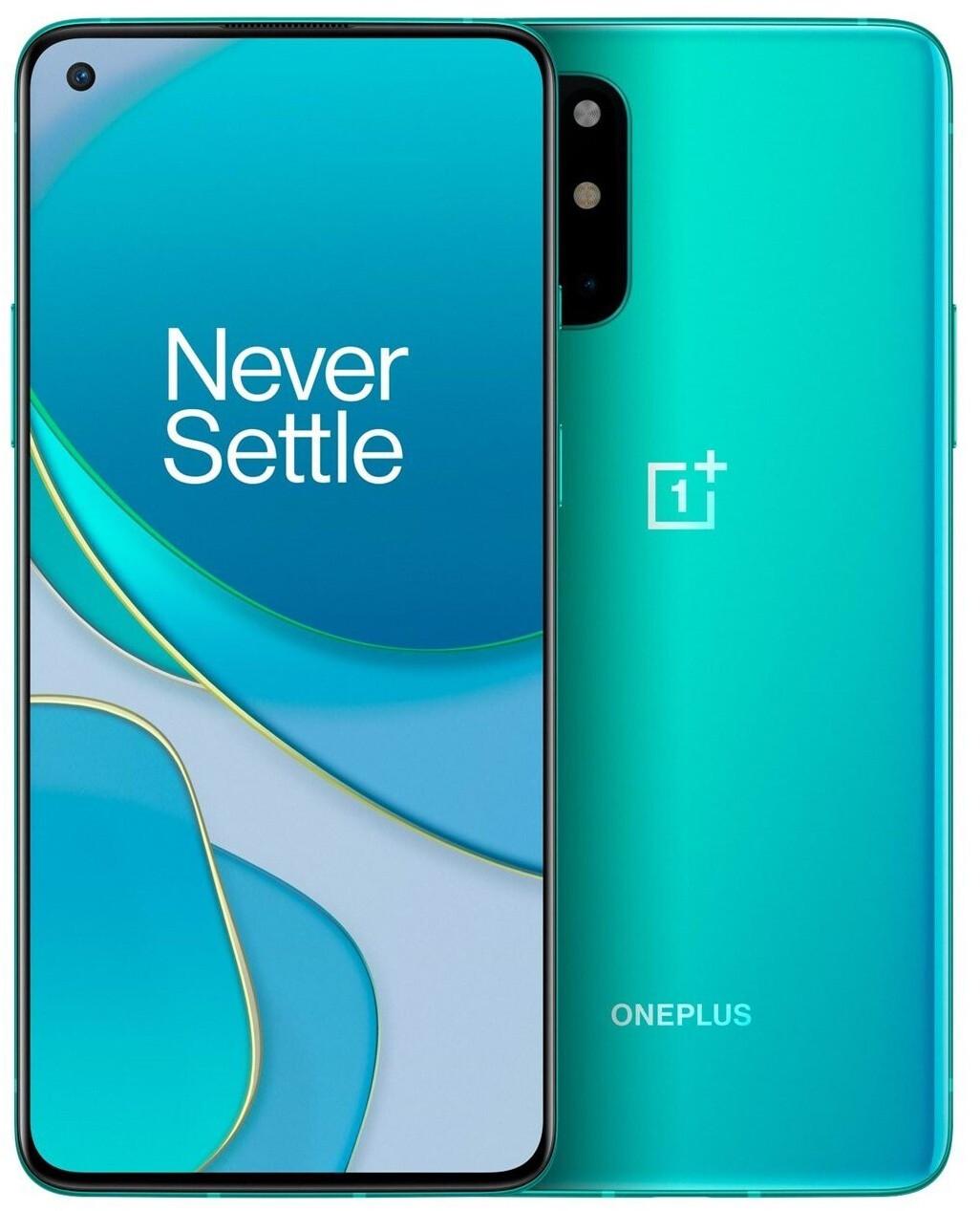 """Smartphone 6.55"""" OnePlus 8T 5G - full HD+ 120 Hz, SnapDragon 865, 12 Go de RAM, 256 Go, vert (+ 15€ en Rakuten Points)"""