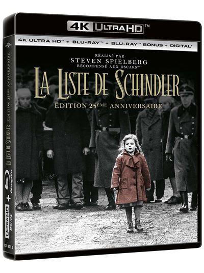 Sélection de Blu-ray 4K UHD à 15€ - Ex : La Liste de Schindler (Edition du 25ème Anniversaire)