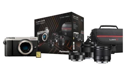 Appareil photo Hybride Panasonic Lumix GX9 + 3 Objectifs (12-32mm + 35-100mm + 25 mm f/1.7) + Sacoche + Carte SD