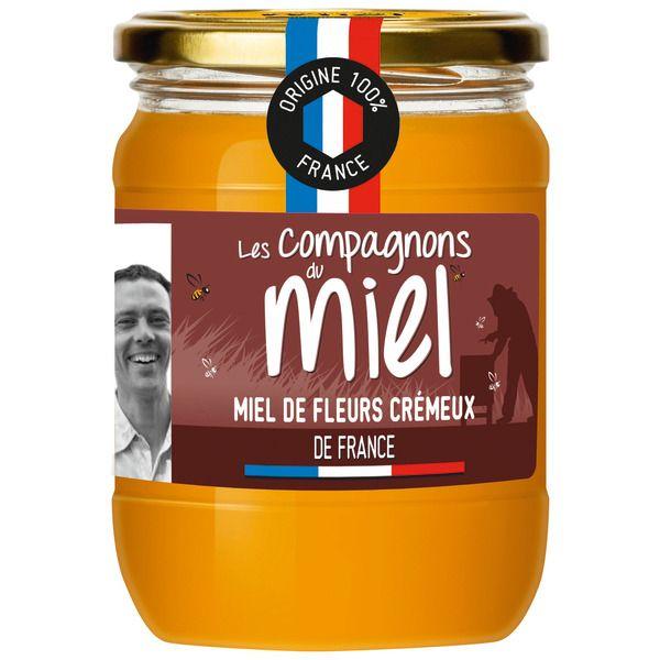 """Pot de Miel de fleurs crémeux de France """"les compagnons du miel"""" (Origine 100% France) - 750g"""