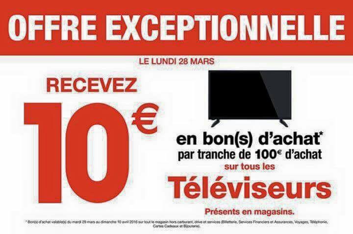 10€ en bon d'achat par tranche de 100€ d'achat sur tous les téléviseurs