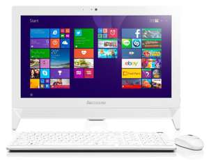 "Pc tout en un 20"" Lenovo C20-00 Blanc - Intel Celeron, 4 Go de RAM, 1 To, Intel HD Graphics"