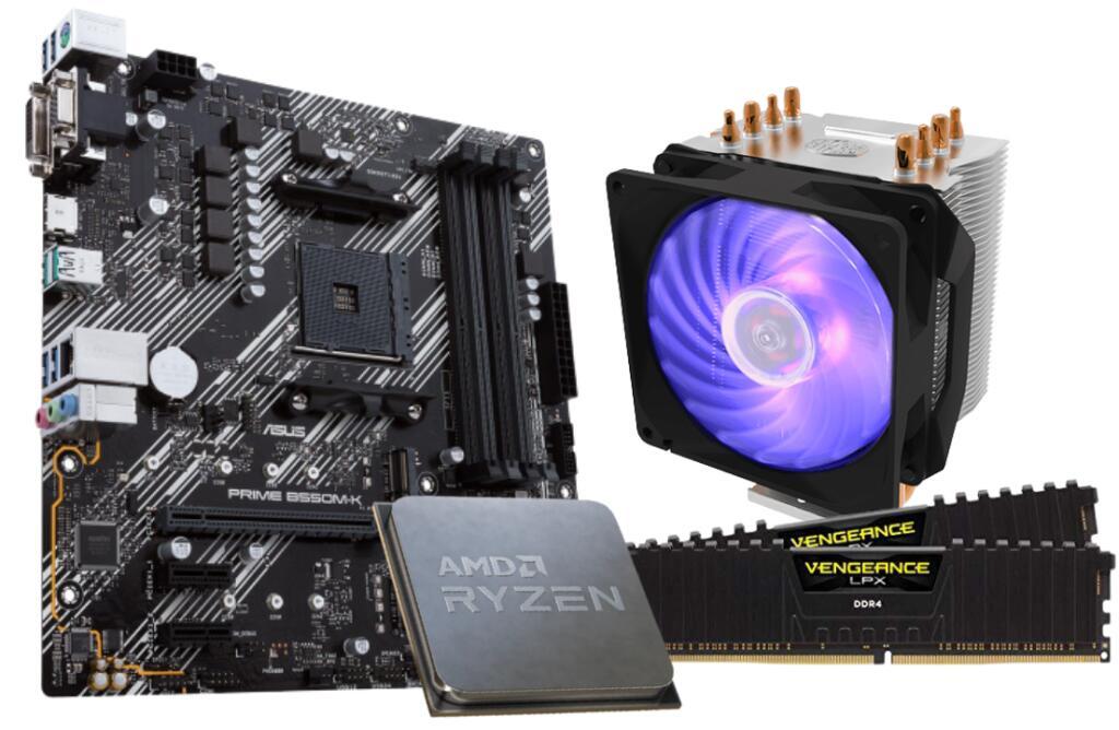 Kit upgrade : AMD Ryzen 5 5600X + Cooler Master Hyper H410R RGB + Asus PRIME B550M-K + RAM 2x8Go 3200MHz