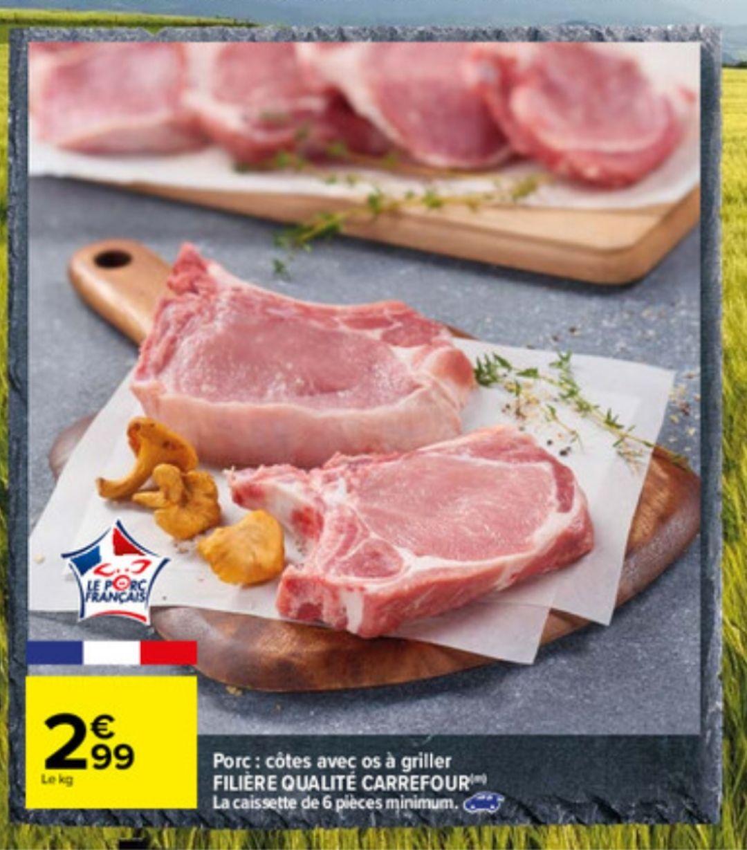 Caissette de 6 Côtes de porc avec OS à griller