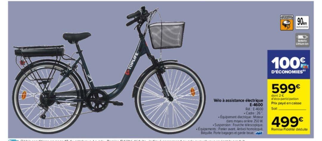 Vélo électrique Top Life 26' (prix maximum via 100€ sur la carte de fidélité + à cumuler éventuellement avec des aides locales)