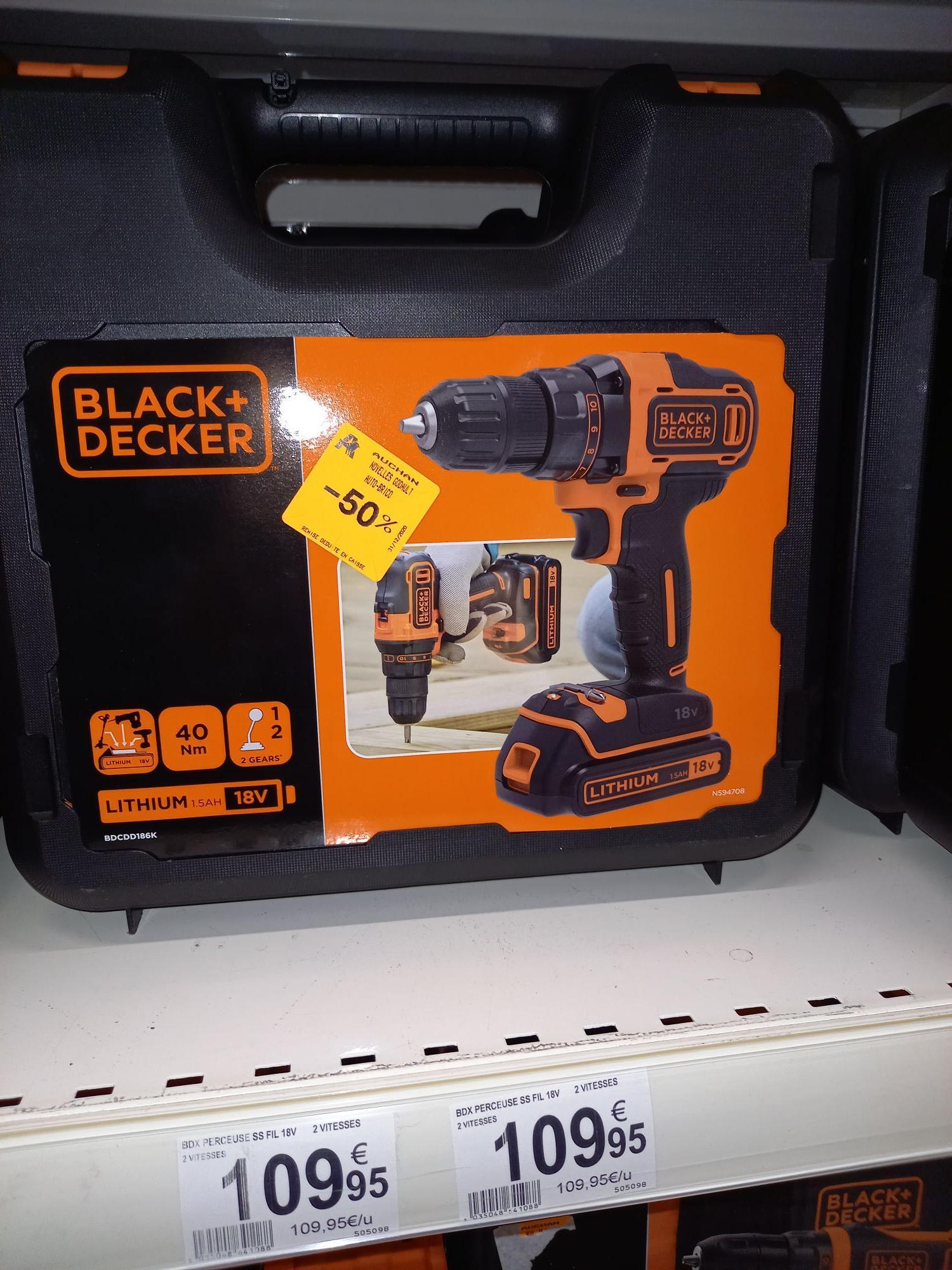 Perceuse visseuse sans-fil Black & Decker Black & Decker BDCDD186K - 18V - Noyelles-Godault (62)
