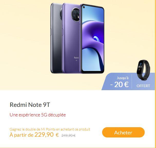 "Smartphone 6.53"" Xiaomi Redmi Note 9T 5G - 64Go + Bracelet connecté Mi Band 5"