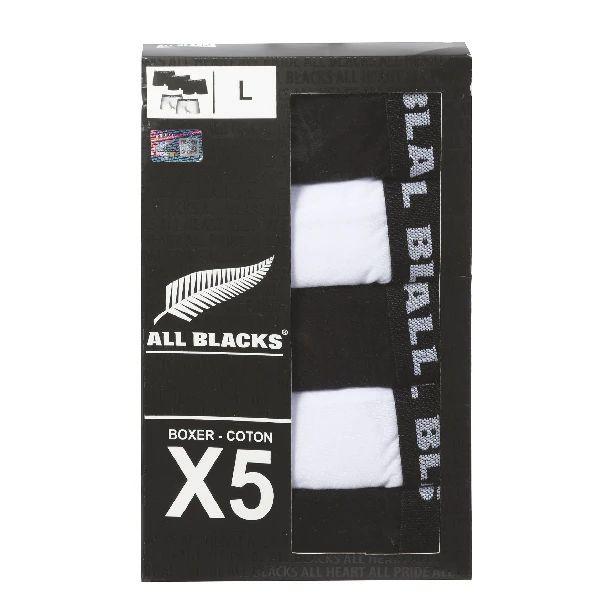 Lot de 5 boxers homme All Blacks - Noirs et blancs, 100% coton, Taille S à XXL