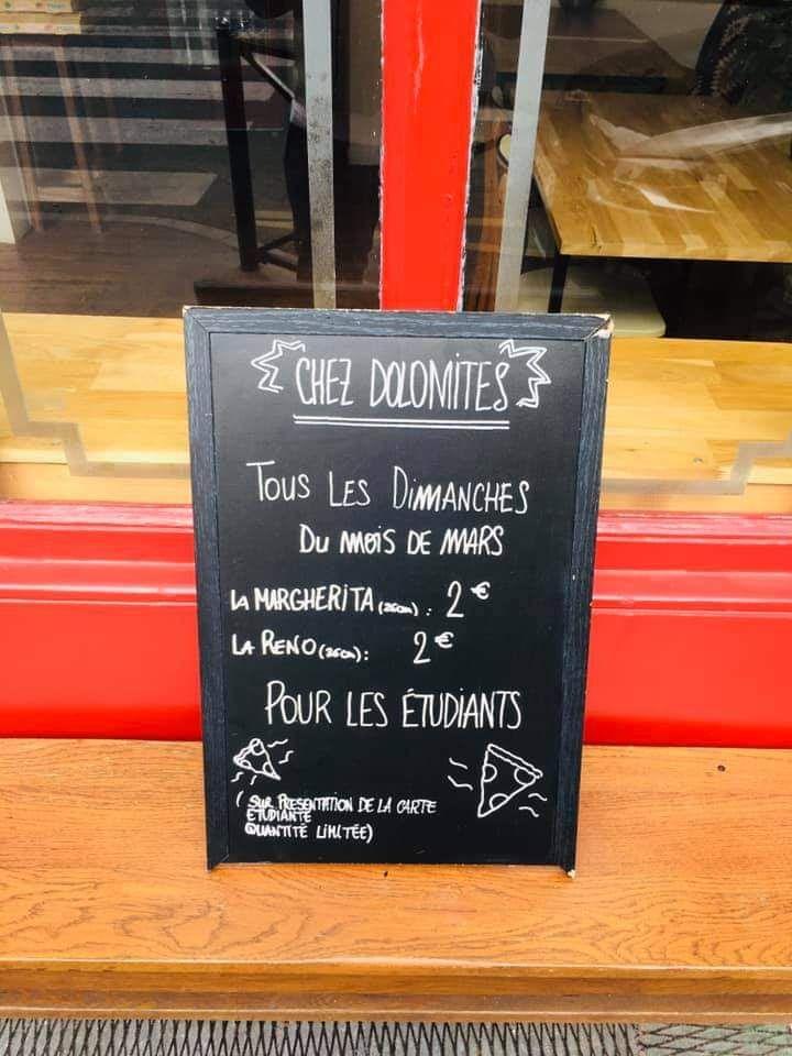 [Etudiants - Tous les Dimanches] Pizza Margherita ou Reno - Chez Dolomites Bordeaux (33)