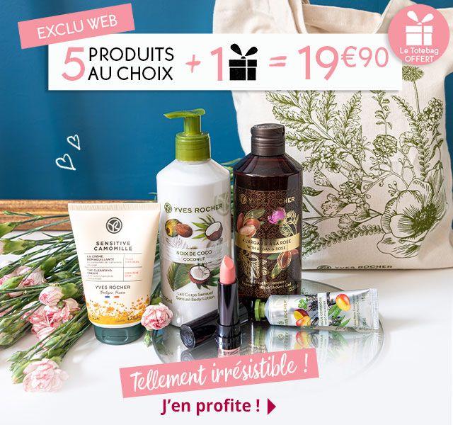 Lot de 5 produits au choix parmi une sélection + 1 cadeau à choisir