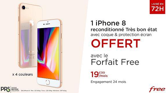 Smartphone Apple iPhone 8 (Reconditionné) + forfait Free Mobile pendant 24 mois (appels/SMS/MMS Illimités + 100 Go DATA)