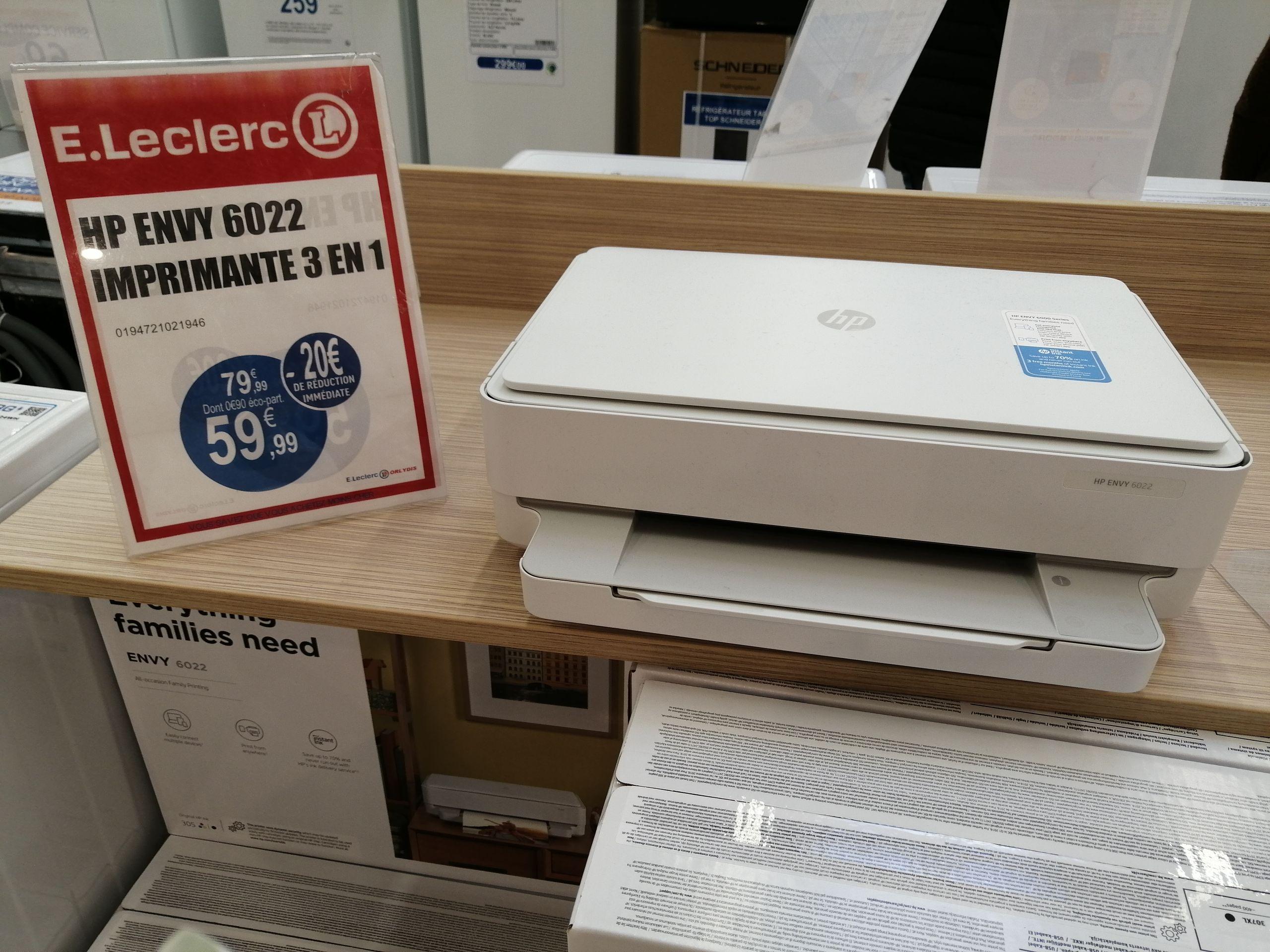 Imprimante multifonction à jet d'encre HP Envy 6022 + 6 mois Instant Ink offerts Leclerc Orly (94)